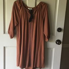 Great tunic/dress Long tunic or dress by YA of Los Angeles. Copper color with blue detail. Perfect with leggings and boots! YA of Los Angeles Tops