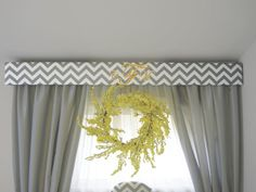 Pelmet Box, Window Cornices, Window Coverings, Chevron Fabric, Grey Chevron, Bay Window Curtains Living Room, Drapes Curtains, Velvet Upholstered Bed, Painted Curtains