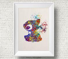Stitch Lilo & Stitch disney watercolor Art Print par IvanHristov Plus