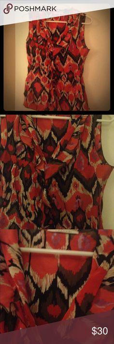 T Tahiti ena sleeveless blouse Ikat print ruffle top T Tahari Tops