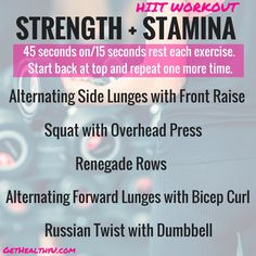 Strength and Stamina HIIT Workout At Home on a poster with the exercises