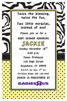 Twins baby shower invitation. $8.00