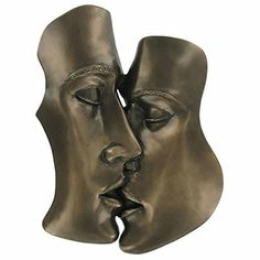 Lovers Kiss Plaque Bronze Love Home Decor Wall Sculpture Statue Art Contemporary
