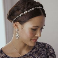 Crystal Strand Statement Headband - Designed with an enticing vintage-inspired pale pink color palette, this headband is a glam slam for your 'do. Sleek rhodium-plated curb chain adds an element of feminine edge, while light peach, white opal, clear + AB crystals add just the right amount of c+i sparkle + shine.