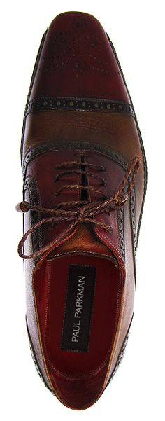 PAUL PARKMAN ® Men's Cap-Toe Brogue Oxford Shoes | Bordeaux & Tobacco Hand-Burnished Leather Upper With Double Side-Stitched Leather Sole