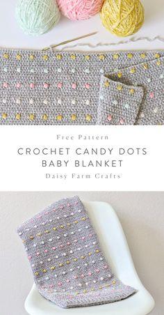 Free Crochet Blanket Pattern - Candy Dots Baby Blanket - Stricken ist so einfach. Free Crochet Blanket Pattern – Candy Dots Baby Blanket – Stricken ist so einfach… – Crochet Afghans, Crochet Diy, Crochet Blanket Patterns, Baby Blanket Crochet, Crochet Crafts, Crochet Stitches, Crochet Projects, Knitting Patterns, Crochet Dolls