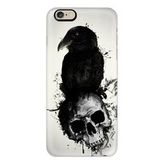 iPhone 6 Plus/6/5/5s/5c Case - Raven and Skull ($40) ❤ liked on Polyvore featuring accessories, tech accessories, phone cases, phone, iphone case, slim iphone case, iphone cover case and apple iphone cases