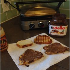 Post Passover Jewish youth athletic breakfast: challah+peanut butter+nutella.