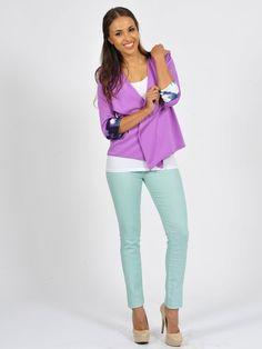 Diligo lilac Spring blazer with print turnup  | www.diligo.co.za Lilac, Capri Pants, Essentials, Spring Summer, Blazer, Fashion Design, Shopping, Collection, Women
