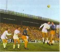 August Fairs Cup Final Leg at Elland Road. Leeds United in their away strip against Hungarian side Ferencvaros. Picture for Leeds are Jack Charlton and Mick Jones. Jack Charlton, Leeds United Fc, Mick Jones, Peacocks, Football Soccer, The Unit, Community, Memories, Shirts