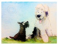 Scottie Dog & Old English Sheepdog , printed on Fine quality photographic paper, 300gsm. Printed with UltraChrome K3 pigment ink. 8 X 6 Inches
