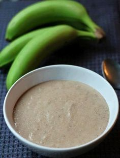 One of the many foods Haitians eat for breakfast is Labouyi Bannann (Plantain Porridge). It's porridge, essentially– one made from ripe banana and unripe plantain. There are myriad ways to spell it, but only one way to eat it– with a spoon. Make that two ways to eat it– hot or cold. Either way, it's … Haitian Food Recipes, Jamaican Recipes, Indian Food Recipes, Ethnic Recipes, Carribean Food, Caribbean Recipes, Plantain Porridge, Hatian Food, Trinidad Recipes