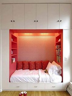 Space-Saving - Built-in Bed/Nook surrounded by Storage. Hidden Bed, Small Bedroom Designs, Dream Rooms, Dream Bedroom, Cool Rooms, Awesome Bedrooms, Home Bedroom, Bedroom Nook, Teen Bedroom