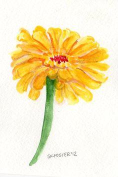 yellow Zinnia watercolor, original painting,  4 x 6