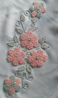 Terrific Pic french knot Embroidery Designs Tips Adornments is a wonderful solution to light up the home along with a fantastic pastime so that you can hang a Embroidery On Kurtis, Hand Embroidery Videos, Hand Embroidery Flowers, Hand Work Embroidery, Embroidery Flowers Pattern, Flower Embroidery Designs, Embroidery Motifs, Simple Embroidery, Ribbon Embroidery