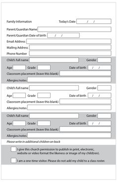 Updated visitor intake form. Perfect for a new family's first visit to your church.