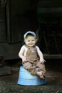 As a matter of fact, I was raised in the barn! #carharttkids #farmlife