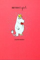 Moomin birthday card - BIRTHDAY GIRL - SNORKMAIDEN WITH FLOWER