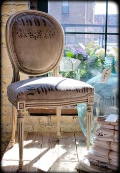 linen covered chair