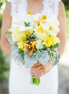 Billy balls are the perfect little accent for a yellow bouquet. Love the softer yellows thrown into the mix as well. Aga Jones Photography captured this bouquet to perfection.
