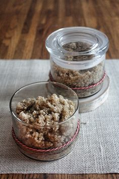 An easy DIY for cinnamon vanilla oatmeal body scrub that will help sooth dry winter skin.
