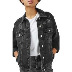 Women's Topshop Moto Ripped Oversize Denim Jacket ($90) ❤ liked on Polyvore featuring outerwear, jackets, washed black, grunge denim jacket, oversized denim jacket, distressed jean jacket, topshop jacket and grunge jean jacket