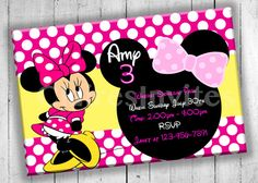 Minnie Mouse Party Invitation Birthday by PartyPrintableInvite Minnie Mouse Party, Mouse Parties, Invitation Birthday, Party Invitations, Disney, Disney Art