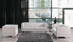 Well-liked Nail Button Backseat Modern White Leather Sofa With Grey Living Fur Rug In Open Sunroom Also Black Curtain Windowed Decorating Ideas