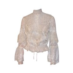 1970's Blouse of Mixed Lace Made in the Victorian Style ❤ liked on Polyvore featuring tops, blouses, shirts, vintage, shirt blouse, vintage shirts, vintage lace shirt, victorian blouses and lace shirt