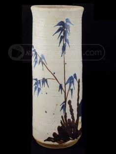 Pottery Vase w/ Painted Bamboo