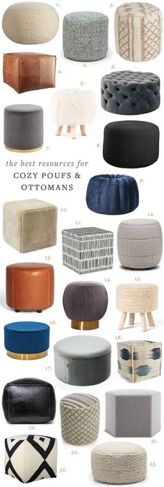 Poufs, Ottomans, and Footstools to Make Your Home Even Cozier! Get the full shopping guide, resource Ottoman In Living Room, My Living Room, Living Room Decor, Ottoman Decor, Pouf Ottoman, Furniture Decor, Living Room Furniture, Wooden Furniture, Furniture Design