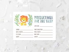 Lion Baby Shower Predictions For Baby Printable Lion Baby