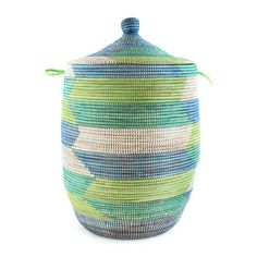 Woven African Laundry Clothes Hamper - Tropical Sea - Large