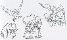 Film: Spirited Away (千と千尋の神隠し) ===== Character Design - Model Sheets: Yubaba's Bird, Yubaba, Chihiro Ogino (Sen), Boh ===== Hayao Miyazaki