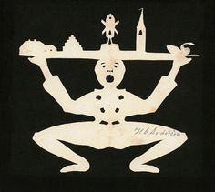 One of my favorites, and supposedly a well-known image. Paper cut by Hans Christian Andersen, Odense City Museums