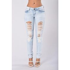 Spell On Me Jeans Cloud ($15) ❤ liked on Polyvore featuring bottoms