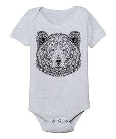Look what I found on #zulily! Athletic Heather Bear Face Bodysuit - Infant #zulilyfinds
