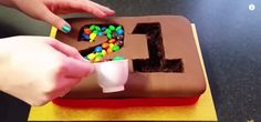 DIY M&M Madness Pinata Number Birthday Cake