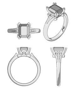 Anillo de diamante de la vendimia (cad)