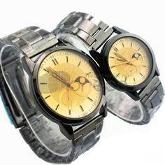 Luz tamanho marrom círculo padrão de casal relógio tira de aço