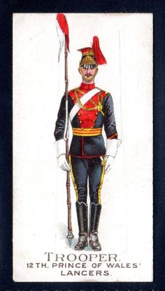 GALLAHER TYPES OF THE BRITISH ARMY-GREEN BACK-TROOPER-12TH PRINCE/WALES LANCERS | eBay