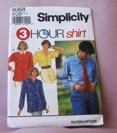 1992 Uncut Simplicity 3 Hour Shirt Pattern by lovelylovepatterns, $4.25