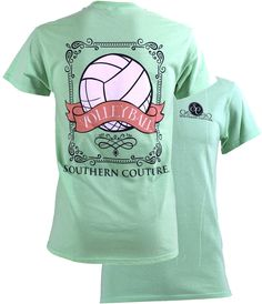 Southern Couture Preppy Vintage Volleyball Sports Girlie Bright T Shirt Available in sizes- S,M,L,XL,2X,3X