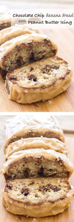 Chocolate Chip Banana Bread with Peanut Butter Icing| SUBSTITUTE NUTELLA FOR PEANUT BUTTER! www.alattefood.com