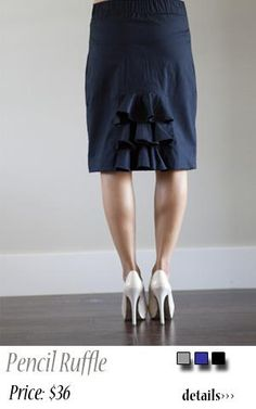 ruffled pencil skirt - a little too long - but nice detail