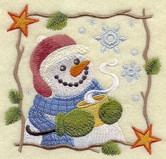 Cozy Country Snowman - Hot Cocoa design (F7593) from www.Emblibrary.com