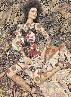 Steven Meisel - 'Vogue Patterns'. Texture / Pattern / Culture / Fashion / Camouflage / Abstract / Bold / Floral
