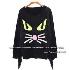 SW108 Celebrity Style Women Boho Fringed Sleeved Chunky Cat Face Knitted Sweater Jumper Pullover Tops Knitwear New Free Shipping