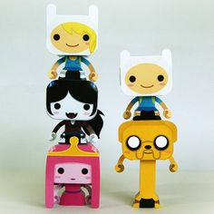 FREE Papercraft, Paper Models and Paper Toys: Mini Adventure Time Paper Toys Adventure Time Birthday, Adventure Time Parties, Toy Art, Science Fiction, Origami, Jake The Dogs, Designer Toys, Paper Models, Paper Toys