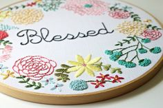 New - Oversized Custom Embroidered Hoop Art - Floral Wreath - Made to Order on Etsy, $202.01 AUD